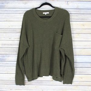 Madewell Thompson Pocket Pullover Sweater Green 2X